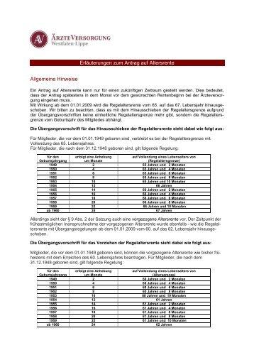Erläuterungen zum Antrag auf Altersrente - Ärzteversorgung ...
