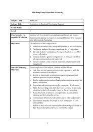 1 The Hong Kong Polytechnic University Subject Code HTM2S01 ...