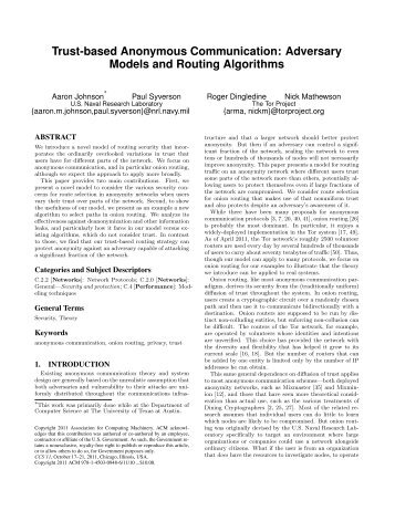 Trust-based Anonymous Communication: Adversary Models and ...