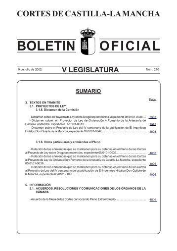 Boletín Oficial núm. 210 (09-07-2002) - Cortes de Castilla-La Mancha