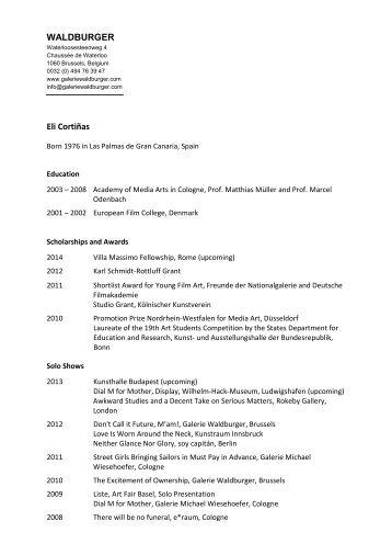 CV as PDF - Galerie Waldburger