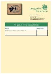 Programm der Kleinkunstbühne - Landgasthof Rockermeier