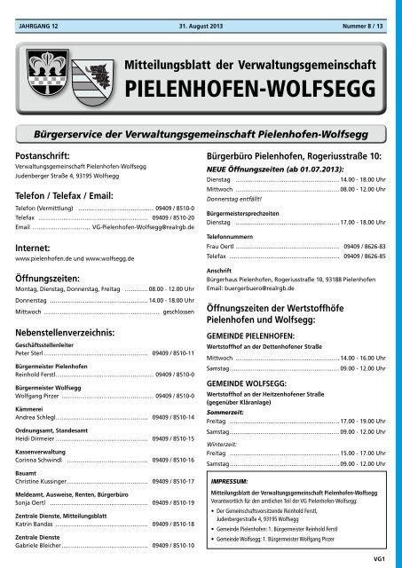 Bürgerservice der Verwaltungsgemeinschaft Pielenhofen-Wolfsegg
