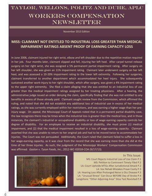 November 2013 Newsletter - Taylor, Wellons, Politz & Duhe