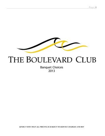 Catering Menus - The Boulevard Club