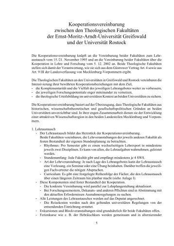 Kooperationsvereinbarung mit Rostock - Theologischen Fakultät der ...