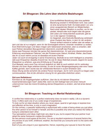 Sri Bhagavan: Die Lehre über eheliche Beziehungen Sri Bhagavan ...