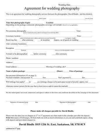 Wedding Photography Contract 2012   David Bindle Photography