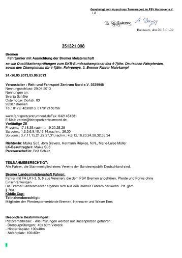 21008 Bremen Ausschreibung - FahrsportZentrum Nord