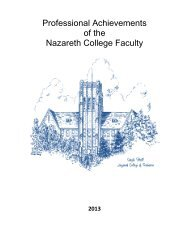 Professional Achievements of the Nazareth College Faculty