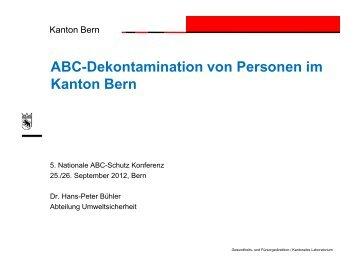 ABC-Dekontamination von Personen im Kanton Bern