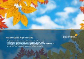 Newsletter 03/13 · September 2013 - studienaktie.org
