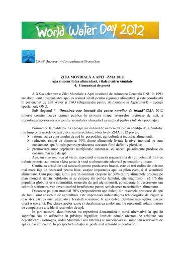 CRSP Bucureşti - Compartiment PromoSan ZIUA MONDIALĂ A APEI