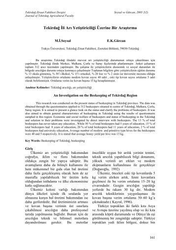 tekirdağ ili arı yetiştiriciliği üzerine bir araştırma - Tekirdağ Ziraat ...