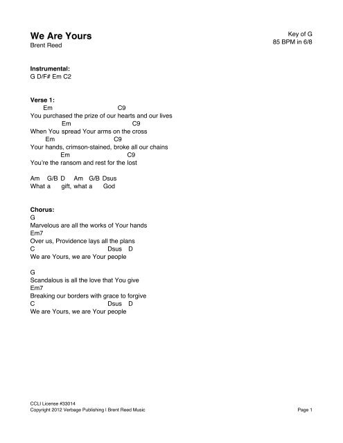 WE ARE YOURS – Lyrics & Chord Chart - Brent Reed Music