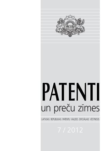 07/2012 - Latvijas Republikas Patentu valde