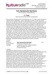 Felix Mendelssohn Bartholdy - Kulturradio