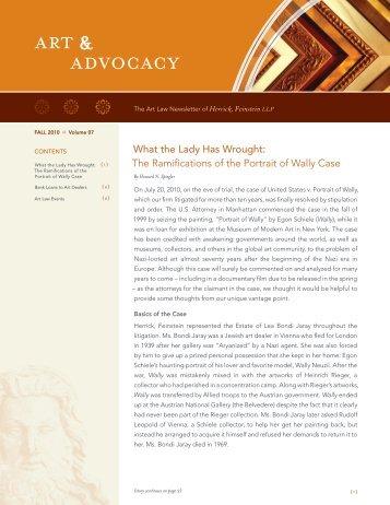 Art & Advocacy, Fall 2010, Vol. 7 - Herrick, Feinstein LLP