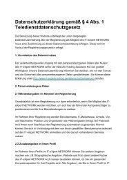 Datenschutzerklärung gemäß § 4 Abs. 1 Teledienstdatenschutzgesetz