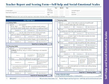 Self-help and Social-Emotional Scales