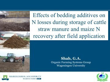 Effects of bedding additives on N losses during storage of ... - Inra
