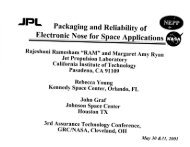 JPL Packaging and Reliability of Electronic Nose for Space ...