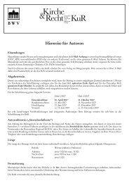 Hinweise für Autoren - KuR - Zeitschrift für kirchliche und staatliche ...