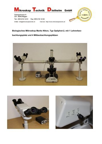 Biologisches Mikroskop Marke Nikon, Typ Optiphot-2, mit 1 Lehrerbeo
