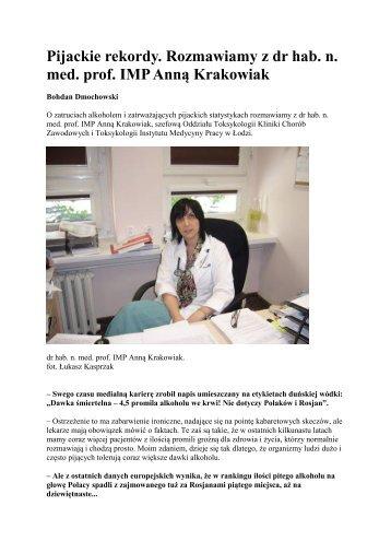 Pijackie rekordy. Rozmawiamy z dr hab. n. med. prof. IMP Anną ...