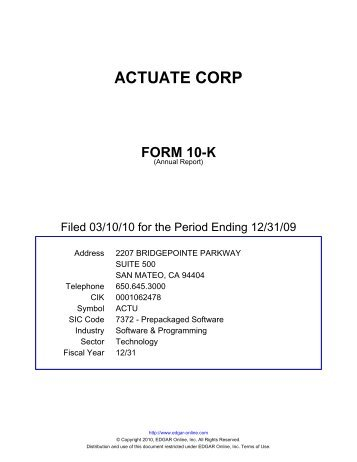 actuate corp form 10-k - PrecisionIR