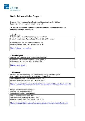 Merkblatt rechtliche Fragen - Frauenzentrale Zug