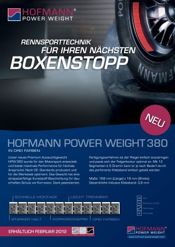 Boxenstopp - Hofmann Power Weight