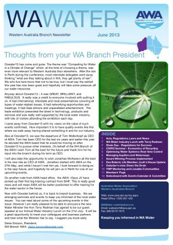 Thoughts from your WA Branch President - Australian Water ...