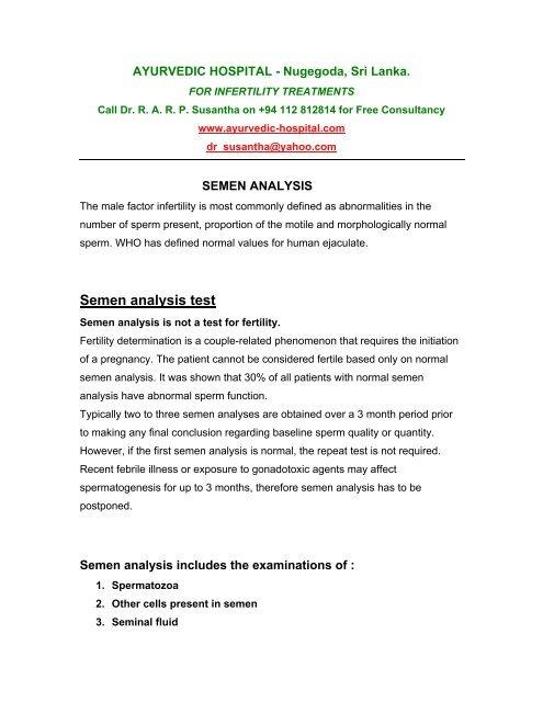 Semen analysis test - Sri Lanka male female infertility
