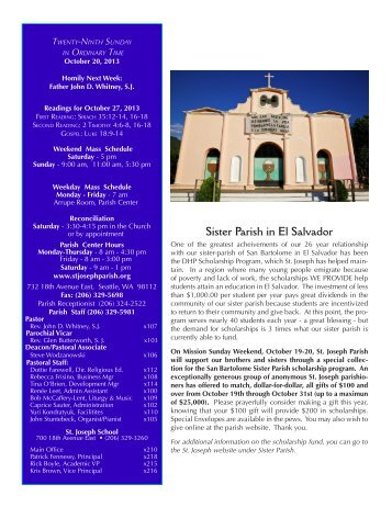 October 20, 2013 Bulletin - St. Joseph Parish