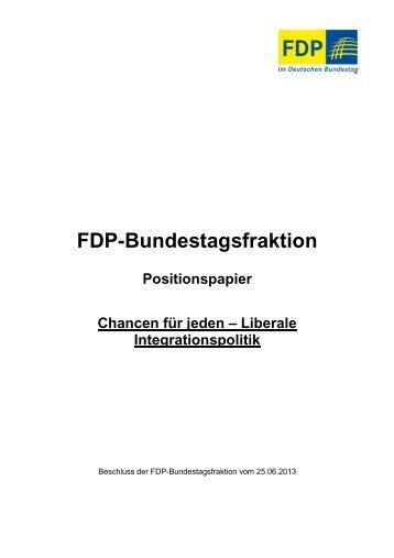 Positionspapier: Chancen für jeden - Liberale Integrationspolitik