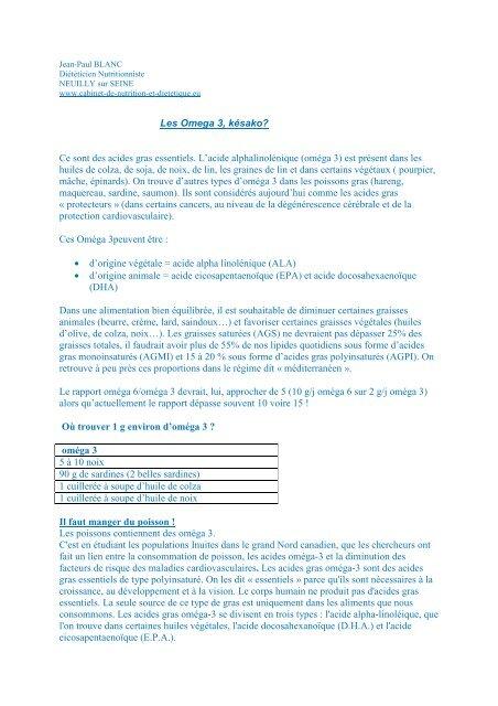 Les Omega 3 - Cabinet de Nutrition et Diététique Neuilly