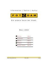 Information | Satire | Kultur Die andere Seite der Stadt ... - POTZDAM
