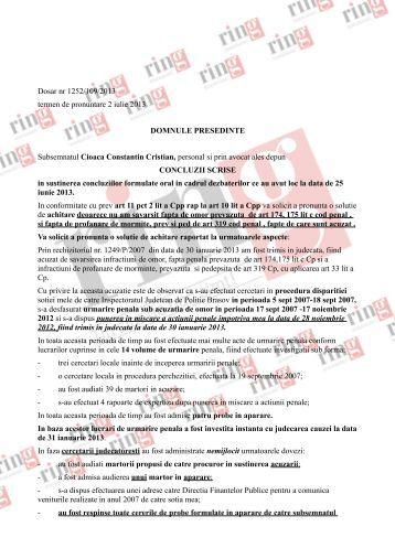 Dosar nr 1252/109/2013 termen de pronuntare 2 iulie ... - ZiarulRing.ro