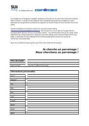 Questionnaire de parrainage d'un projet. - Swiss-Sailing