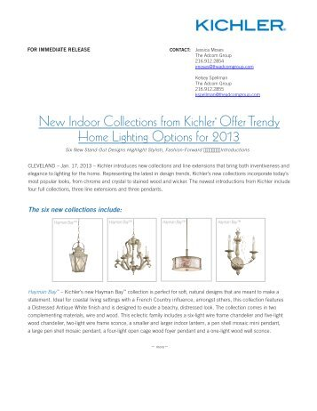New Indoor Collections from Kichler® Offer Trendy Home Lighting ...