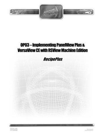 OP03 – Implementing PanelView Plus & VersaView CE with ...