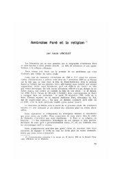 Ambroise Paré et la religion. - Bibliothèque interuniversitaire de ...