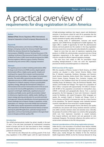 A practical overview of requirements for drug registration in ... - TOPRA