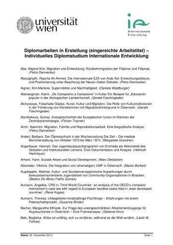 Eingereichte Diplomarbeitstitel - Institut für Internationale Entwicklung