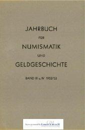 1952-1953-Band III-IV - Bayerische Numismatische Gesellschaft eV