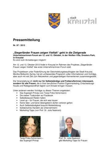 PM Unternehmerinnen-Forum – Oktober 2013 - Frauen zeigen Vielfalt