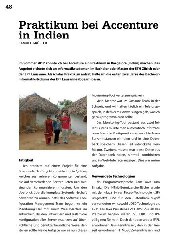 Praktikum bei Accenture in Indien - Vis - ETH Zürich