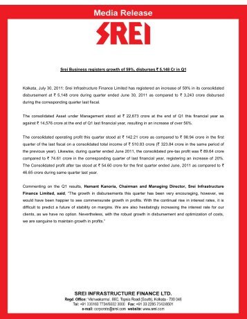 Srei Business registers growth of 59%, disburses ` 5,148 Cr in Q1 ...