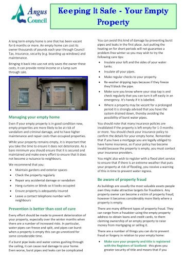 Keeping your empty property safe (210 KB PDF) - Angus Council